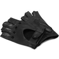 Men's Black Leather Napoli Fingerless Driving Gloves