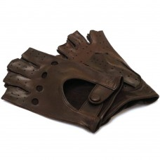 Men's Brown Leather Napoli Fingerless Driving Gloves