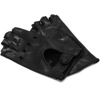Women's Black Leather Napoli Fingerless Driving Gloves