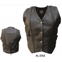 Ladies Braided Vest In Drum Dyed Naked Cowhide Leather