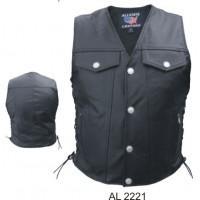 Men's Leather Denim Style Vest