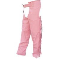 Ladies Pink Braided With Fringe, Lined Chaps In Cowhide Leather